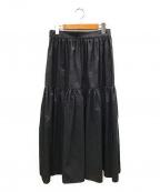 VERMEIL par iena(ヴェルメイユパーイエナ)の古着「ドットギャザーティアードスカート」 ネイビー