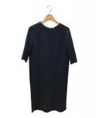 DEUXIEME CLASSE(ドゥーズィエム クラス)の古着「トリアセジョーゼット 七分袖ワンピース」|ネイビー
