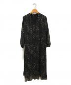 Mila Owen(ミラオーウェン)の古着「スタンドカラープリーツ柄ワンピース」 ブラック×ブラウン