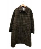CLANE HOMME(クラネ オム)の古着「STAND FALL COLLAR CHECK COAT」|ブラウン