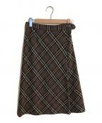 BURBERRY LONDON()の古着「ノヴァチェックウールフレアスカート」|グレー×ベージュ