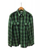 ()の古着「ヘビーコットンチェックネルシャツ」 グリーン×ブラック