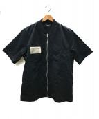 ()の古着「半袖ロングジップロングシャツ」|ブラック×アイボリー