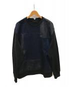 DIESEL Black Gold(ディーゼル ブラック ゴールド)の古着「パッチワークデニムプルオーバー」|インディゴ×ブラック