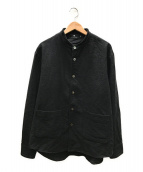 ()の古着「バック刺繍ワークシャツジャケット」|ブラック×イエロー