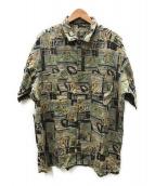 PAPAS(パパス)の古着「総柄リネンシャツ」|ブラウン×グリーン