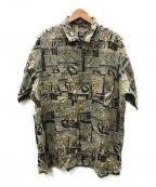 PAPAS(パパス)の古着「総柄リネンシャツ」 ブラウン×グリーン