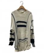 MAISON FLANEUR(メゾン フラネウール)の古着「SWEATER W/INTERLACED THRE」 アイボリー