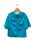 ()の古着「DPコットンタイプライター シャーリングブラウス」 ブルー