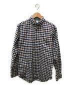 TAKEO KIKUCHI(タケオキクチ)の古着「トップチェックワイド ボタンダウンシャツ」 グレー×ブラウン