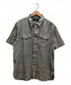 RRL()の古着「半袖セルビッチストライプシャツ」|ホワイト×ブルー