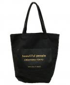 beautiful people(ビューティフルピープル)の古着「ロゴプリントトートバッグ」|ブラック×ゴールド