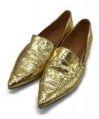 ()の古着「ポインテッドメタリックパンプス」 ゴールド