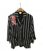 Kate Spade(ケイトスペード)の古着「刺繍ストライプブビジュージャケット」|ブラック×ピンク