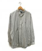 RALPH LAUREN(ラルフローレン)の古着「ストライプビッグシャツ」 ホワイト×グレー