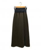 PUBLIC TOKYO(パブリックトウキョウ)の古着「ラメジャガードニットスカート」|ブラウン