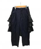 COMME des GARCONS(コムデギャルソン)の古着「レイヤードデザインスラックス」 ネイビー