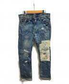 MIHARA YASUHIRO(ミハラヤスヒロ)の古着「リペア加工デニムパンツ」|スカイブルー