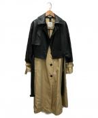 LANVIN en Bleu(ランバンオンブルー)の古着「フェイクレザーコンビトレンチコート」 ベージュ×ブラック