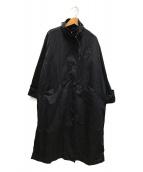()の古着「ベルトハイネックビッグスリーブコート」 グレー