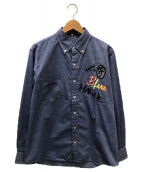 ()の古着「刺繍シャツ」 ブルー