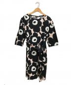 marimekko(マリメッコ)の古着「ウニッコ柄ワンピース」|ブラック×ピンク