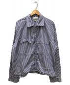 ()の古着「ワイドストライプシャツ」|スカイブルー