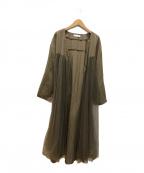 eimee law(エイミーロウ)の古着「チュールレイヤードロングガウン」|グリーン