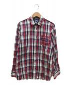 ()の古着「チェックシャツ」 レッド×ブルー