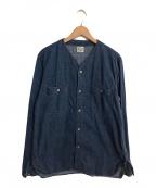 orSlow(オアスロウ)の古着「ノーカラーデニムジャケット」|ブルー