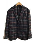 ()の古着「スライバーニットウィンドウチェックジャケット」|ネイビー×ブラウン
