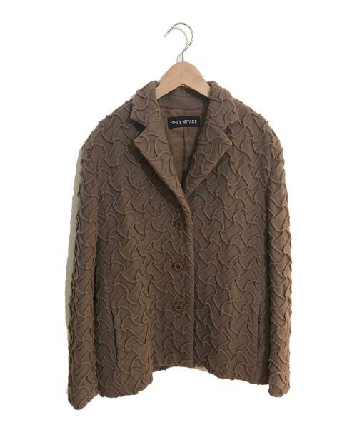 ISSEY MIYAKE(イッセイミヤケ)ISSEY MIYAKE (イッセイミヤケ) ウールデザインジャケット ベージュ サイズ:3の古着・服飾アイテム