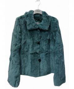 ARMANI COLLEZIONI(アルマーニ コレッツィオーニ)の古着「ラビットファージャケット」|ブルー