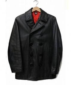 PAUL SMITH RED EAR(ポールスミスレッドイヤー)の古着「オールレザーPコート」|ブラック
