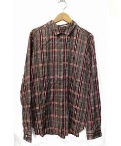 KUMIKYOKU(クミキョク)の古着「ドビーチェックシャーティングシャツ」|ブラウン