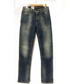 Nudie Jeans(ヌーディー ジーンズ)の古着「ウォッシュ加工デニムパンツ」|ブルー