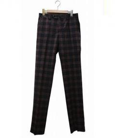 PT01(ピーティーゼロウーノ)の古着「センタープレスウールパンツ」|レッド×ブラック