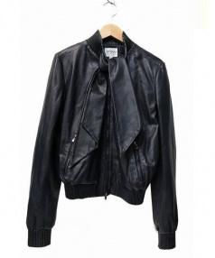 ARMANI COLLEZIONI(アルマーニ コレッツィオーニ)の古着「ラムレザーライダースジャケット」|ネイビー