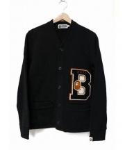 A BATHING APE(ア ベイシング エイプ)の古着「スウェットレタードカーディガン」|ブラック