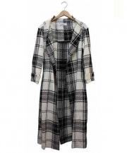 JUNKO SHIMADA(ジュンコシマダ)の古着「リネンシルクトッパーコート」|ホワイト×ブラック