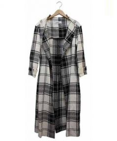 JUNKO SHIMADA(ジュンコシマダ)の古着「リネンシルクトッパーコート」 ホワイト×ブラック