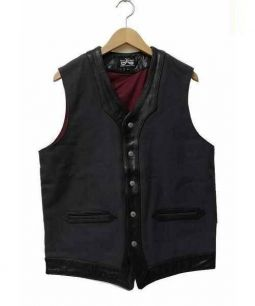 DRESS HIPPY(ドレスヒッピー)の古着「レザーチーフベスト」|ブラック