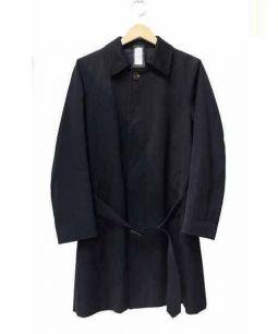 LARDINI(ラルディーニ)の古着「ベルト付ギャバジンステンカラーコート」 ブラック