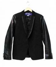 CDG JUNYA WATANABE MAN(コムデギャルソン ジュンヤワタナベ)の古着「レザー切替テーラードジャケット」|ブラック