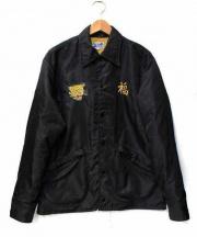 BEAMS(ビームス)の古着「ベト刺繍コーチジャケット」|ブラック