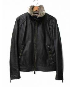 BURBERRY BLACK LABEL(バーバリーブラックレーベル)の古着「シングルライダースジャケット」 ブラック
