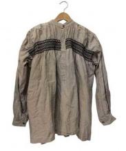 COMME des GARCONS GIRL(コムデギャルソンガール)の古着「刺繍ギャザーリネンシャツ」|ベージュ