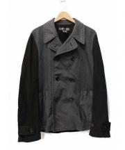 COMME des GARCONS SHIRT(コムデギャルソンシャツ)の古着「異素材切替ジャケット」|ブラック×グレー