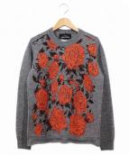 tricot COMME des GARCONS(トリココムデギャルソン)の古着「フラワー刺繍圧縮ニット」 オレンジ×グレー