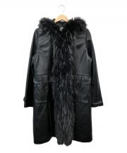 BALMAIN(バルマン)の古着「ファーレザーコート」|ブラック